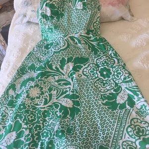 Madison Leigh sundress backless 10P green & white
